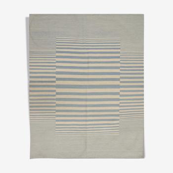 Blue Cream Wool Kilim Traditional Flat Woven Striped Area Rug- 159x196cm