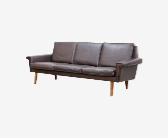 Canapé de conception danois en cuir brun