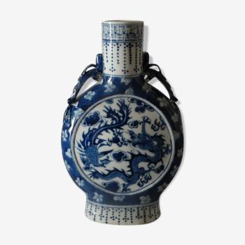 Chine. canton. vase gourde de pèlerin en porcelaine 1900. h20 cm