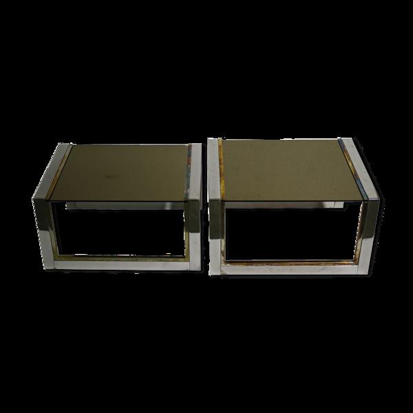 Selency Tables gigogne en laiton et chrome, des années 70