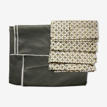 Nappe et serviettes en coton upcyclées vertes et jaunes