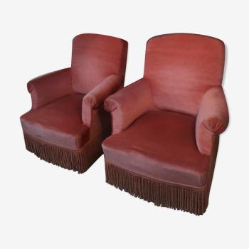 Paire de fauteuils crapaud rose
