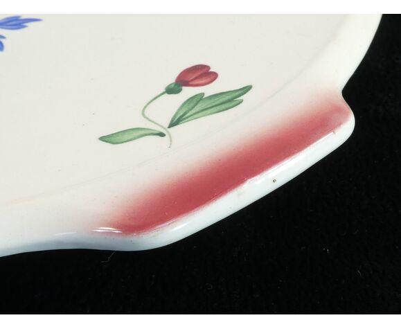 Plat a tarte en faïences Digoin Sarreguemines fleur peint a la main