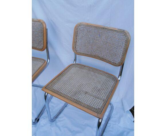 Duo de chaises Marcel Breuer modèle cesca b32 hêtre