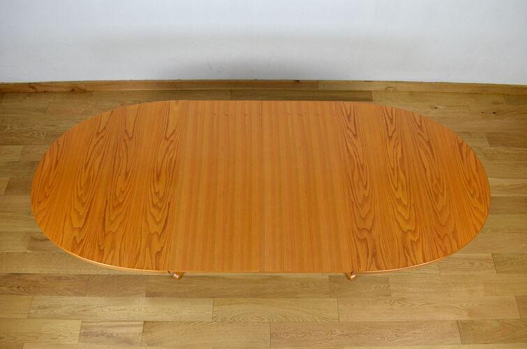 Table ovale vintage en orme édition Baumann 1970