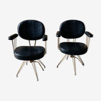 Lot de 2 anciens fauteuils de coiffeur
