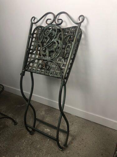 """Chaises de jardin 4 fer forgé """"croisillon"""" patiné vert de gris"""