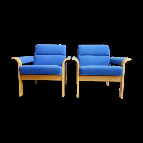Fauteuils bleus de Magnus Olessen Danemark années 1970