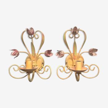 Paire d'appliques romantiques Artemis fleurs et feuilles, Seylumiere 70