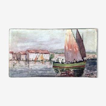 """Tableau 1900 signé """"Les pêcheurs"""""""