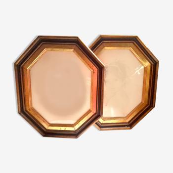 Lot de deux cadres vintage en bois doré - forme polygonale