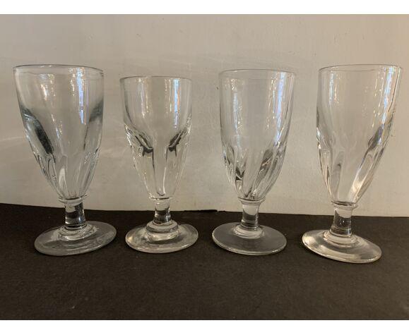 4 verres de bistrot anciens soufflés et bullés, XIXème