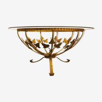 Table basse circulaire en verre des années 1960