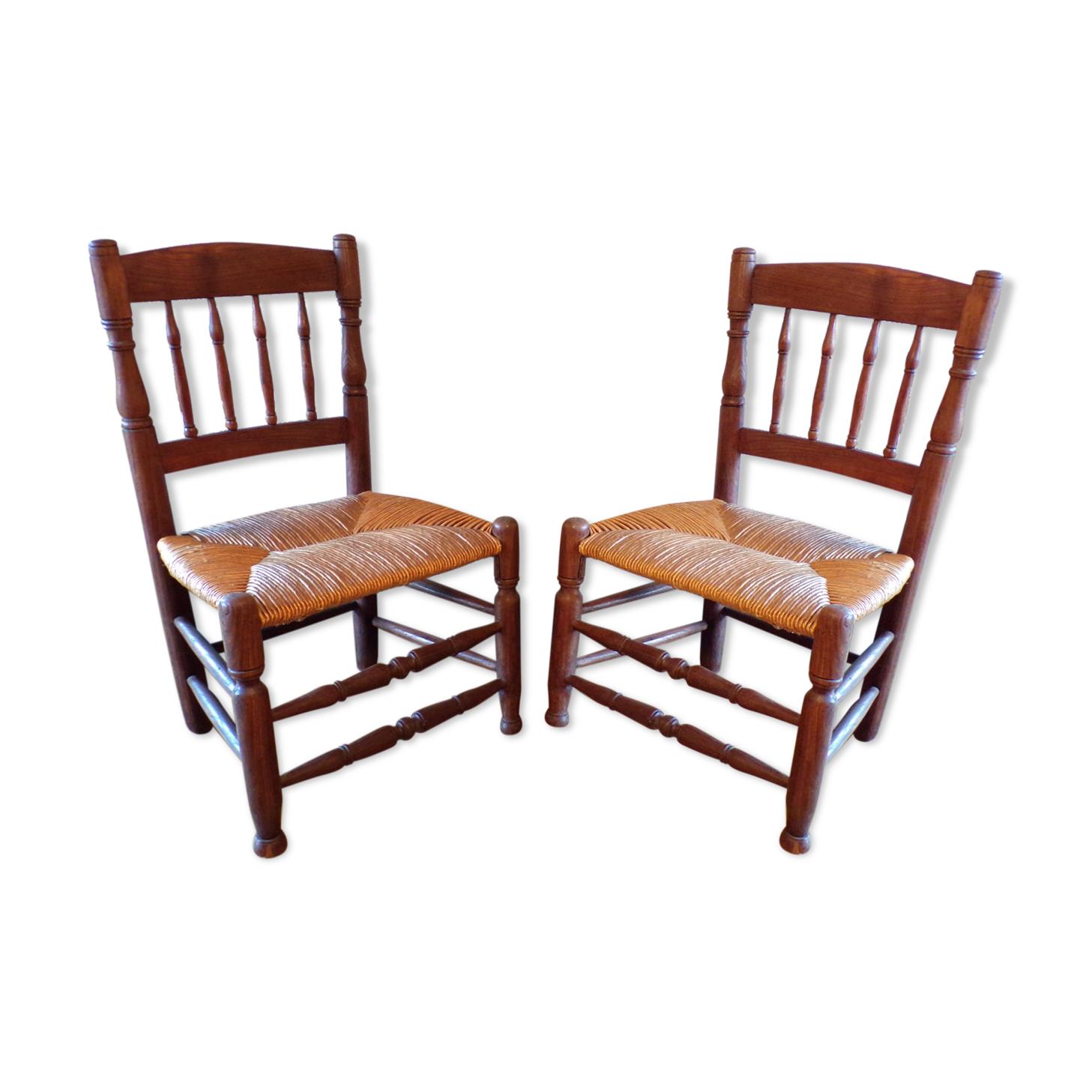 Paire de chaises basses paillées