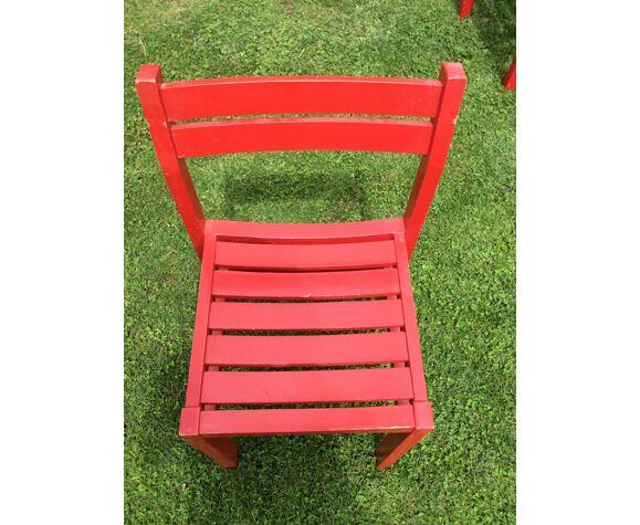 Suite de 10 chaises bois vintage