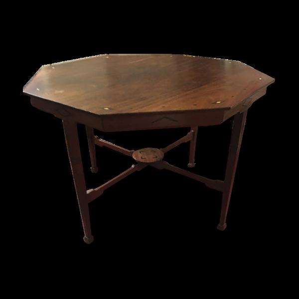 Table bois marquetée octogonale