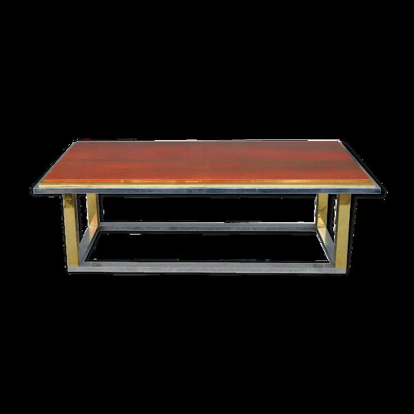 Table basse inox et or vintage plateau laque années 1970