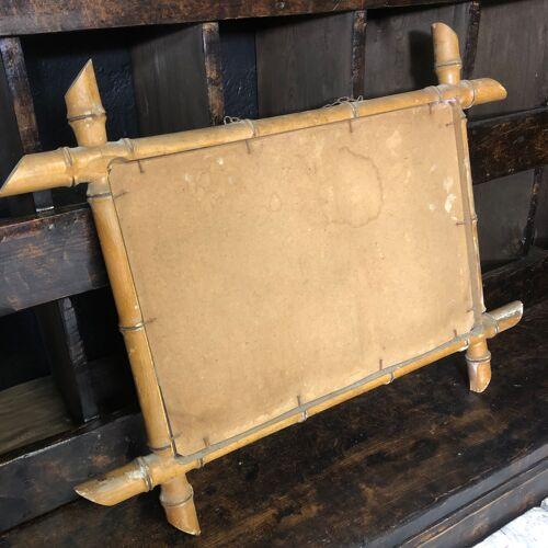 Ancien miroir imitation bambou 57x44