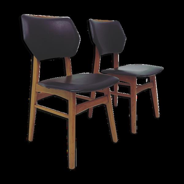 Jeu de 2 chaises à manger vintage skai Stoelen 1960's