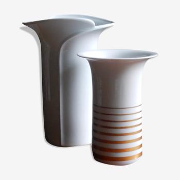 Vase en porcelaine blanc et or des années 60 / Schumann Arzberg Bavaria