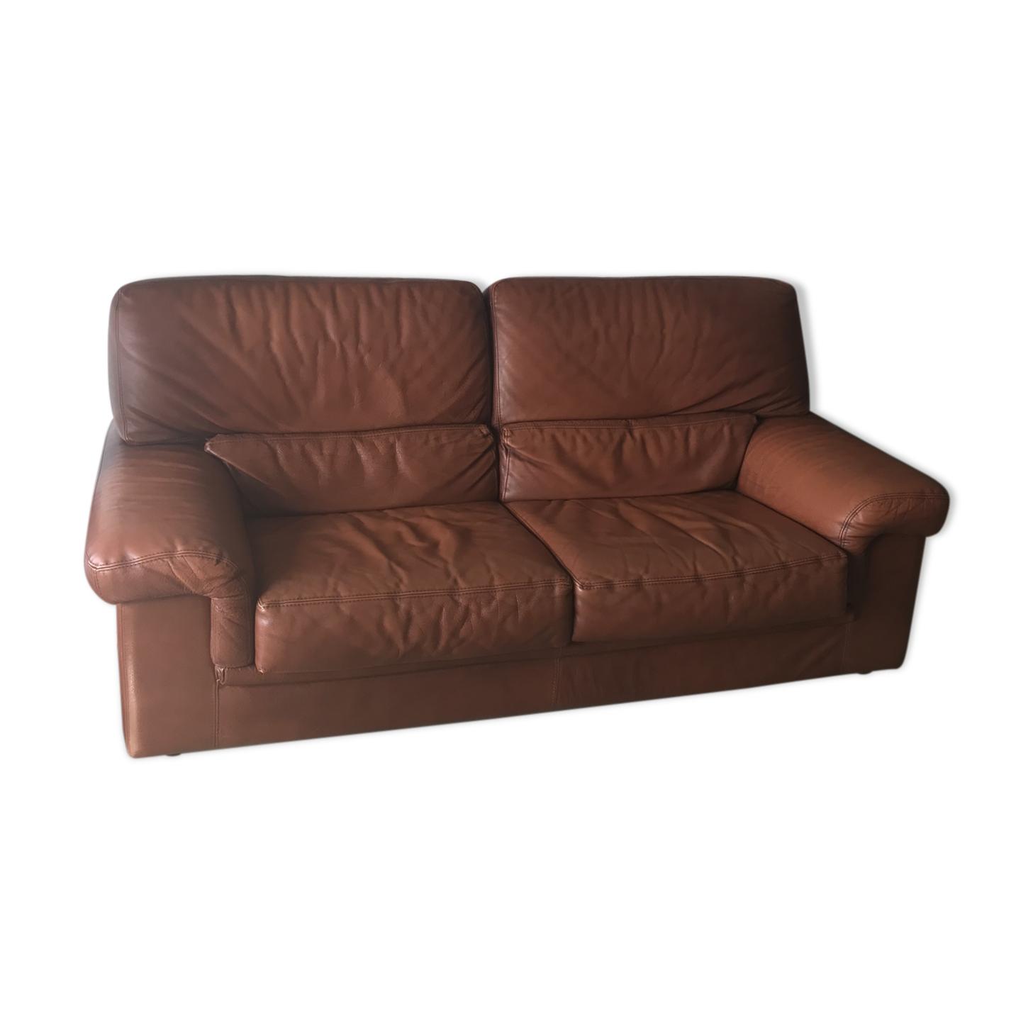 Canapé cuir vintage couleur cognac