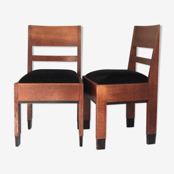 Paire de chaises en chêne art déco  «Haagse School»  H. Fels For L.O.V. Oosterbeek 1920s. Set Of 2