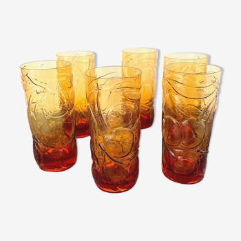 Set de 6 verres ambrés à motifs fruits
