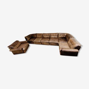 Canapé modulaire en cuir marron vintage de Laauser, années 1960