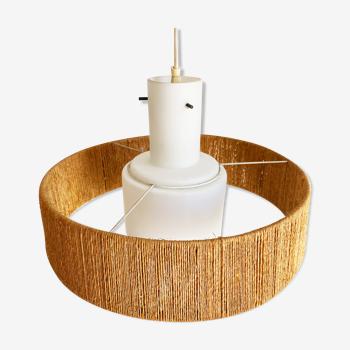 Suspension lampe scandinave opaline & corde Danemark, années 60