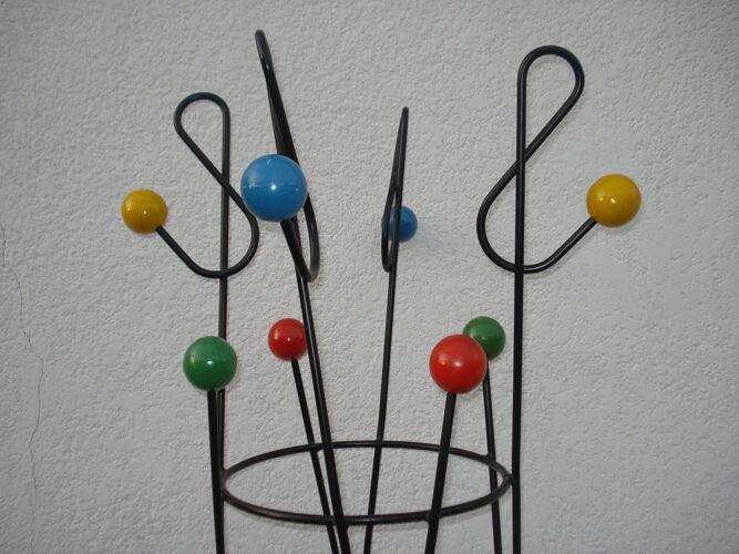 Porte-manteau Roger Feraud « clé de sol » à 8 boules  années 50