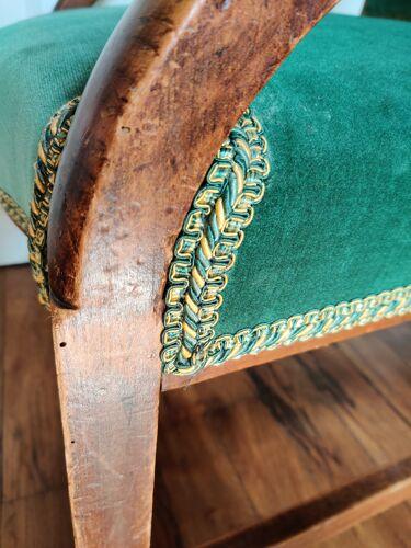 Fauteuil velours vert et bois