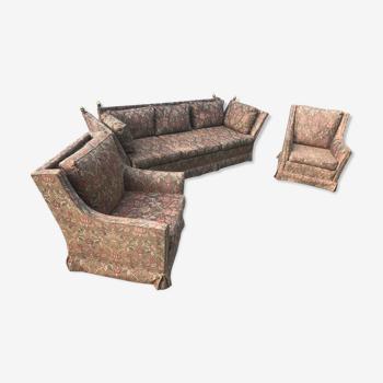 Ensemble canapé 3 places et 2 fauteuils Maison Jansen  1960