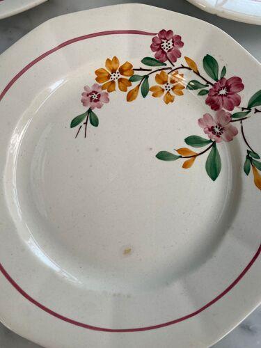 Ensemble de 5 assiettes anciennes Sarreguemines Bitche