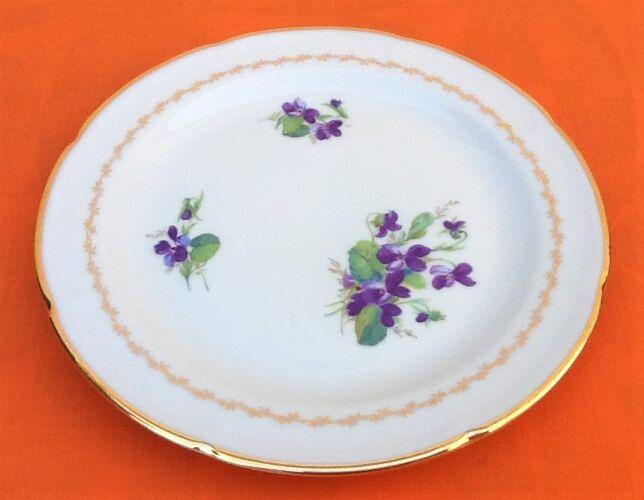 Suite de 6 assiettes à dessert Décor floral Porcelaine de Limoges C.G Pâtes