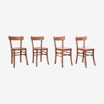 Set de 4 chaises italiennes en bois type Baumann