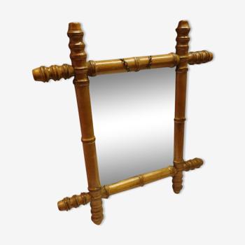 Ancien miroir façon bambou 44x39cm