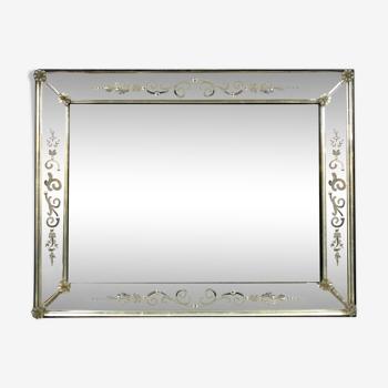 Miroir de Venise a pare closes en verre gravé vers 1900-1940 55 X 72