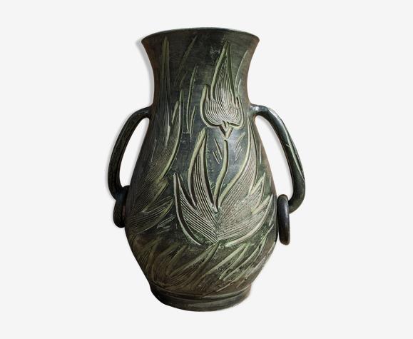 Vase vert motif flamme fleur
