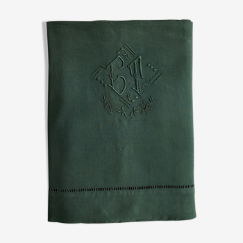 Old linen and cotton wool green sheet