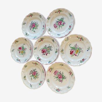 7 assiettes plates Lunéville Kg réverbère anciennes