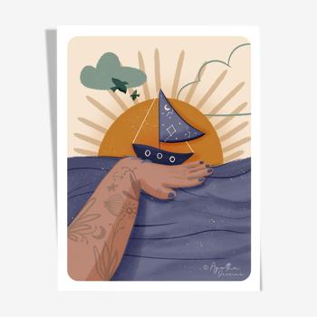 "Illustration ""voyage imaginaire"" a4"