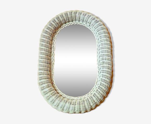 Vintage Français Blanc Ovale Miroir en contreplaqué Dos Crochet suspendu.