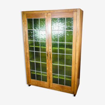 Bibliothèque antique avec portes en verre souillé Brun / Vert - années 1920