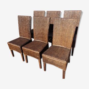 Lot de 6 chaises en osier