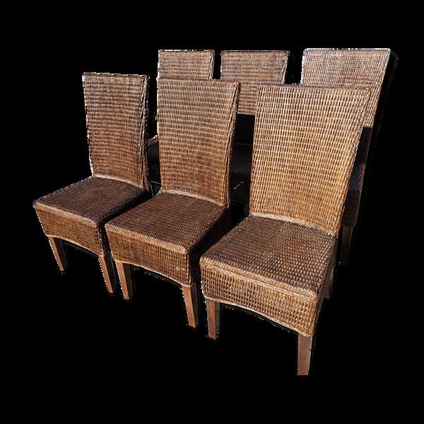 Selency Lot de 6 chaises en osier