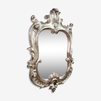 Miroir louis xv baroque avec une jolie patine argentée vers 1940-1950