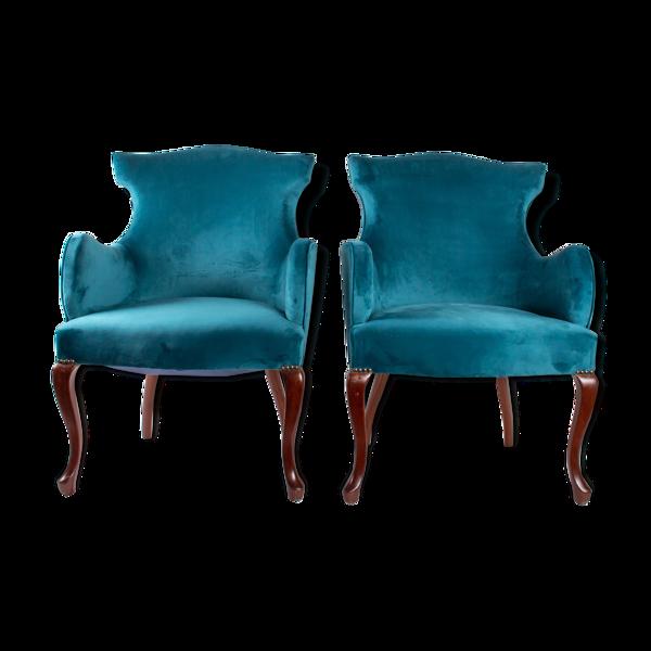 Selency paire de fauteuils anglais du début du xxème siècle, pieds en acajou massif