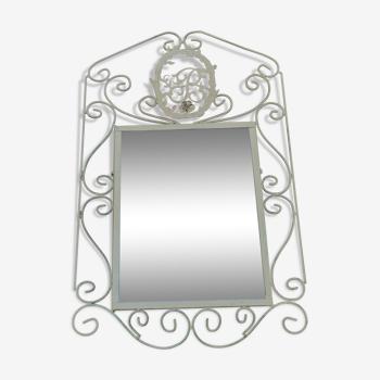 "Miroir moogrammé  ""B"" en fer forgé - 75x45cm"