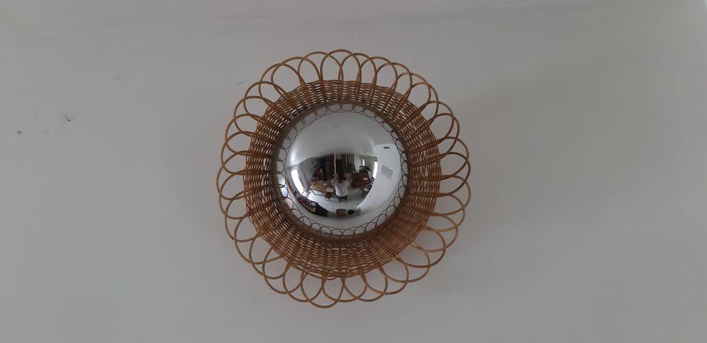 Miroir Sorcière des Années 1960 en Osier