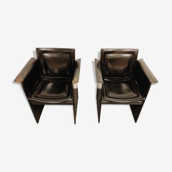 Paire de chaises latérales en cuir Tito Agnoli pour Matteo Grassi, années 1970